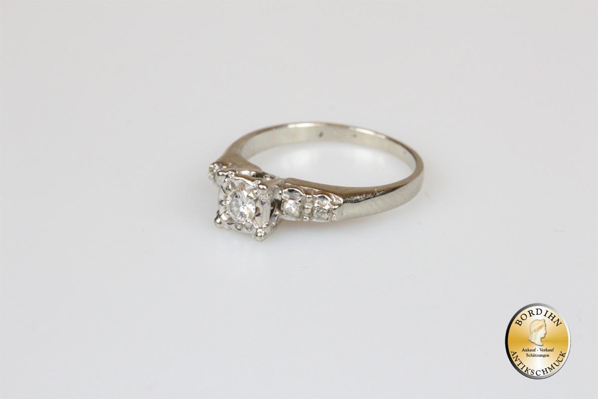 Ring 14 Karat Weißgold fünf Brillanten Damenring Gold Schmuck Geschenk
