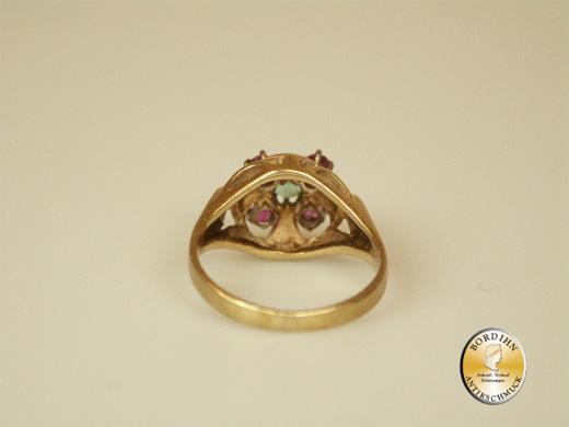 Ring 14 Karat Gold Rubin Smaragd Goldring Edelsteine Schmuckring Damen