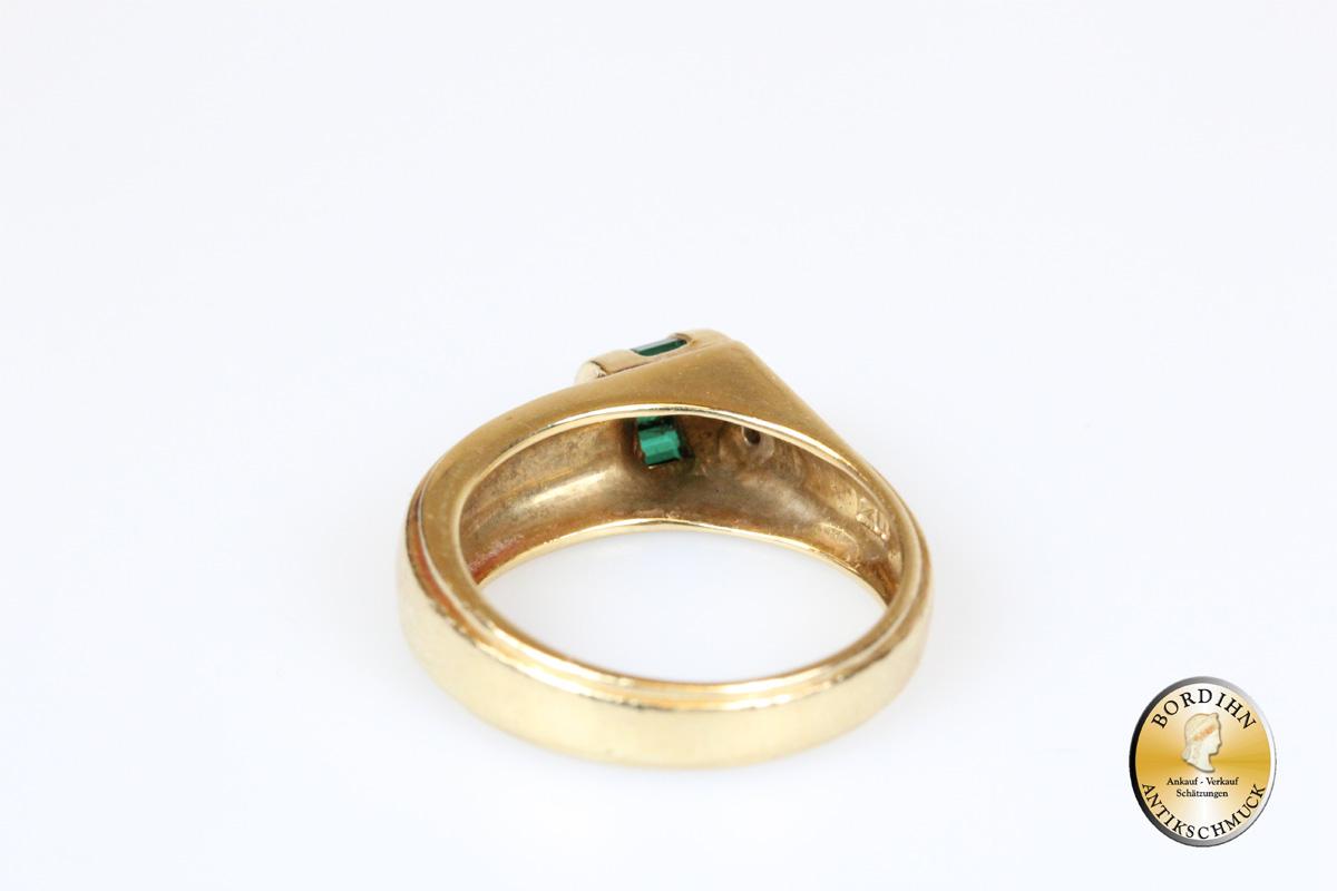 Ring 18 Karat Gold mit Turmalin und Brillant Schmuck Geschenk