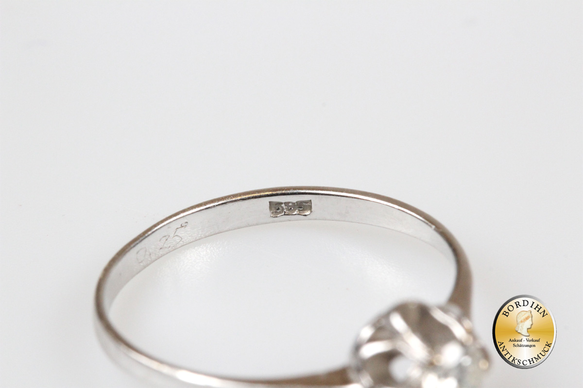 Ring 14 Karat Gold mit Brillant Goldring Schmuckring Weißgold