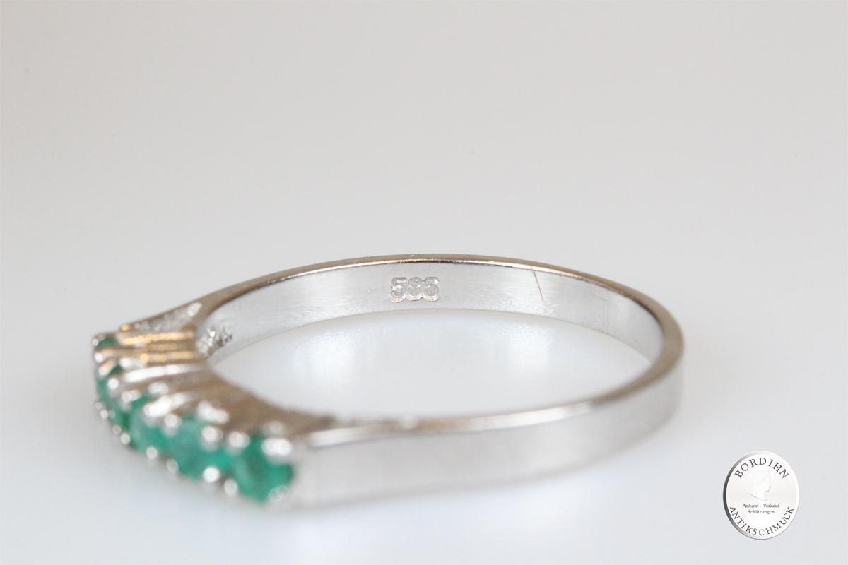 Ring 14 Karat Weißgold 5 Smaragde Goldring Bandring Schmuckring Geschenk