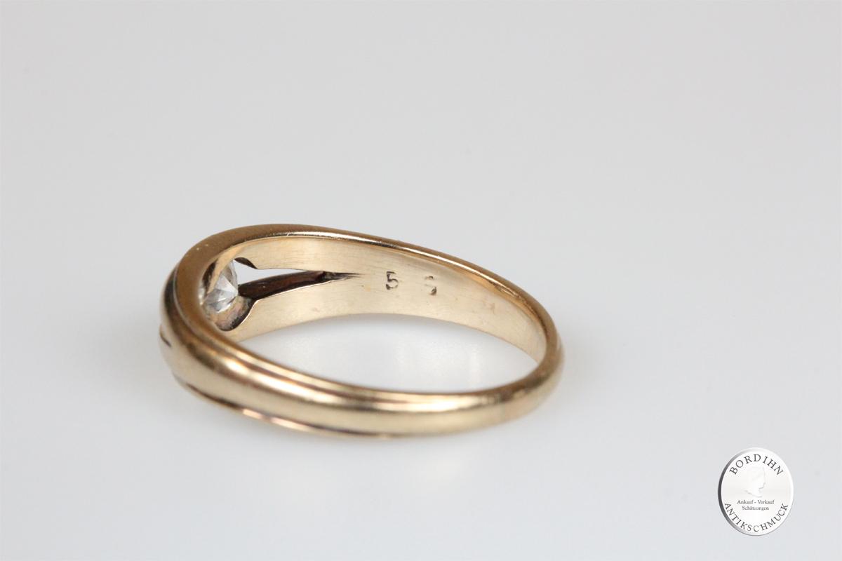 Ring 14 Karat Gold Brillant Goldring Schmuckring Diamant antik