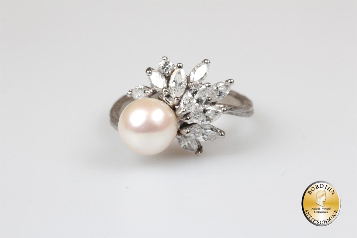Ring 14 Karat Weissgold Perle Brillanten Goldring Fingerring Damenring