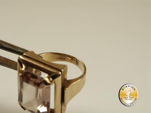 Ring; 14 Karat Gold, Topas eckig, um 1970