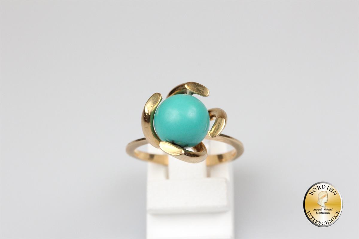 Ring; 18 Karat Gold mit Türkis