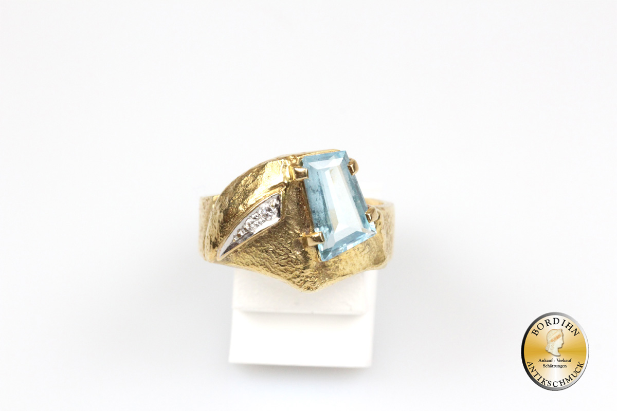 Ring; 14 Karat Gold, Aquamarin und Brillanten