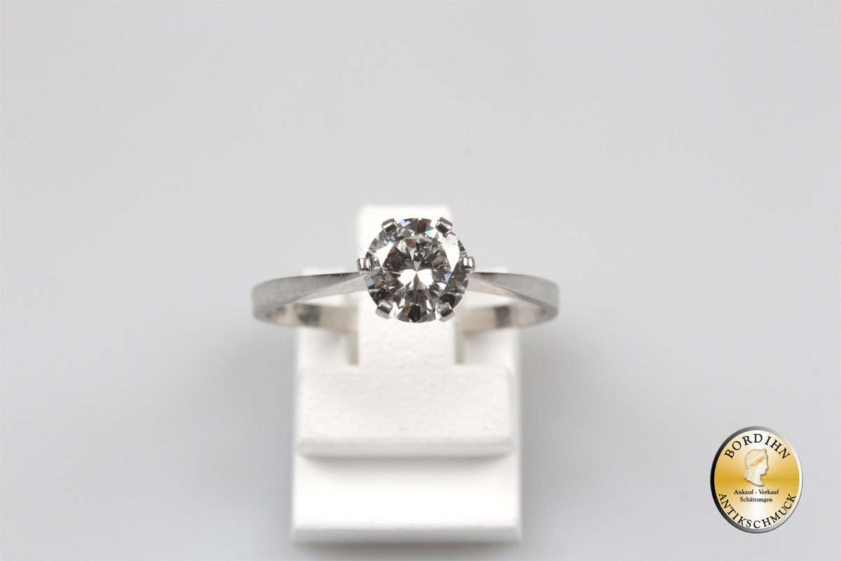 Ring Brillantring 14 Karat Weissgold ein Brillant  0,95ct Schmuckring