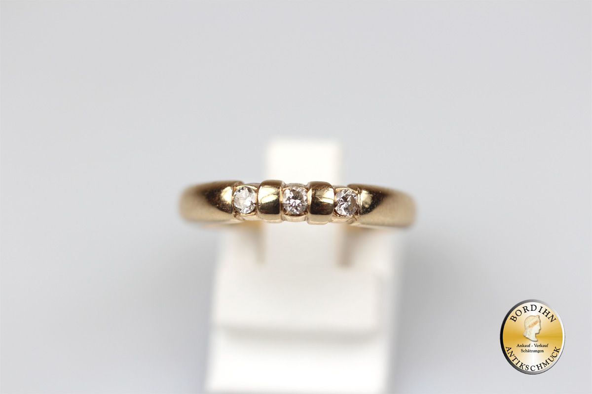 Ring 14 Karat Gold 3 Brillanten Brillantring Bandring Goldring Schmuck