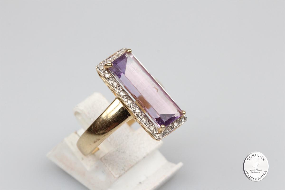 Ring 14 Karat Gold Amethyst Moissanite Schmuckring Edelsteine Schmuck