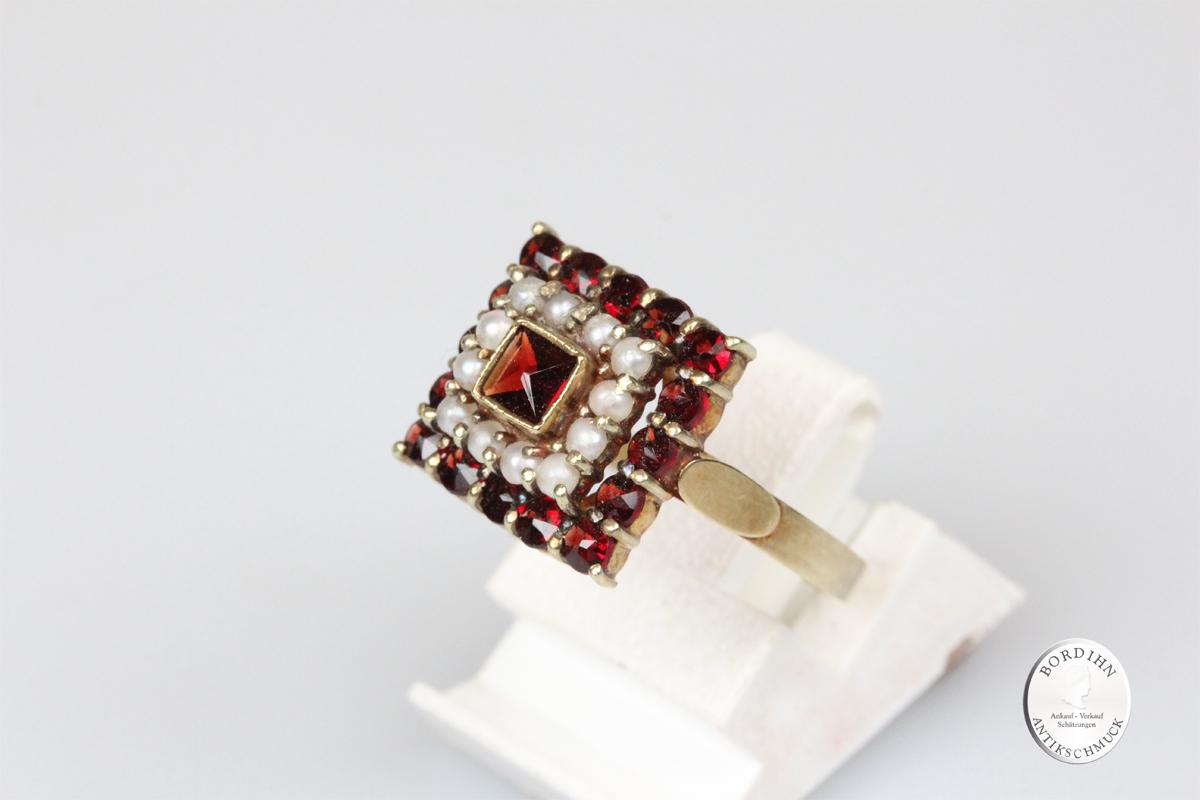 Ring 14 Karat Gold mit Granat Perlchen Fingerring Schmuckring Geschenk