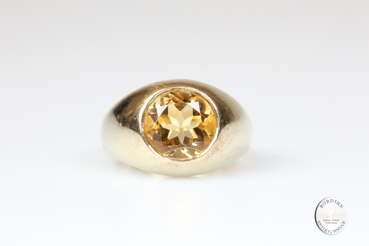 Ring 9 Karat Gold Citrin Goldring Schmuck Damen Geschenk