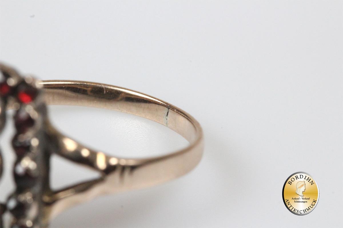 Ring 8 Karat Gold mit Granat antik Rotgold Goldring Damen Geschenk