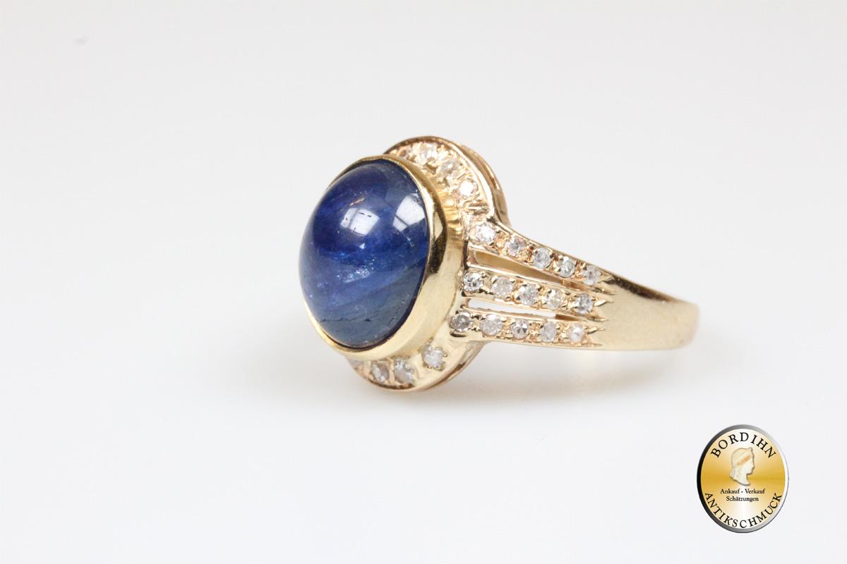 Ring 14 Karat Gold Safir mit Brillanten 1 Saphir 35 Brillanten Goldring