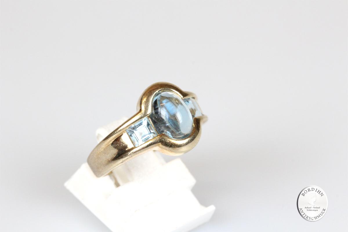 Ring 14 Karat Gold mit Aquamarin Goldring Schmuck Edelstein Geschenk