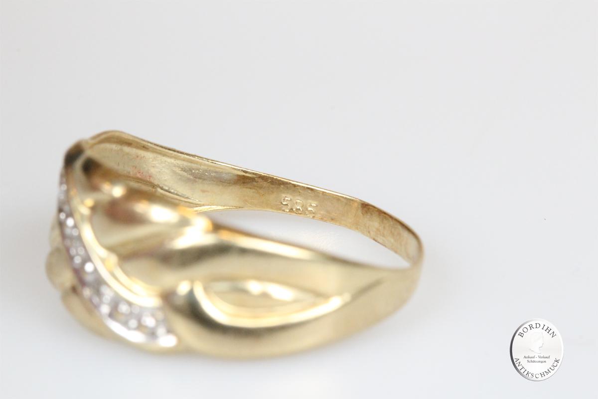 Ring 14 Karat Gold 3 Brillanten Goldring Diamanten Bandring Damen Geschenk