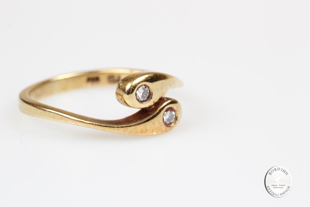 Ring 14 Karat Gold Brillanten Schlangenring Goldring Fingerring Damen