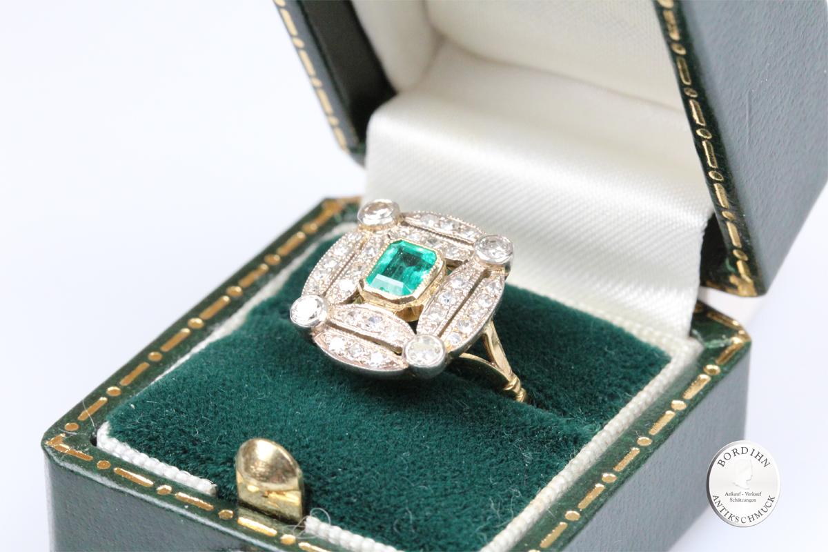 Ring 18 Karat Gold Diamant Smaragd Goldring Artdeco Damenring Geschenk