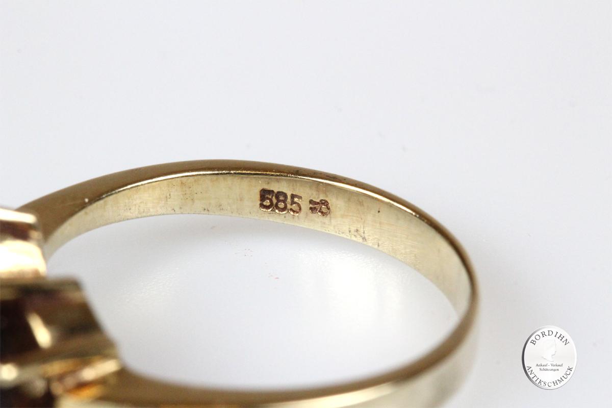 Ring 14 Karat Gold mit Granat Goldring Granatring Schmuckring Damen