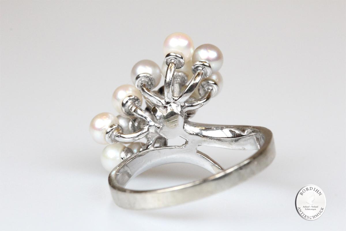 Ring 14 Karat Gold Weisgold Brillant 12 Perlchen Schmuckring Damen