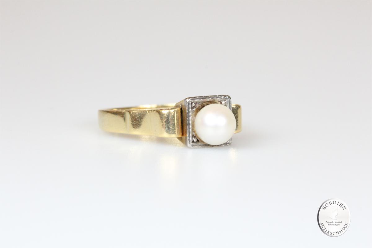 Ring 18 Karat Gold Perle Goldring Schmuckring antik Damen Geschenk