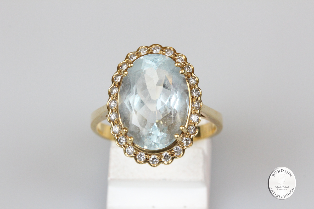 Ring 18 Karat Gold Aquamarin Brillanten Goldring Schmuckring Edelstein