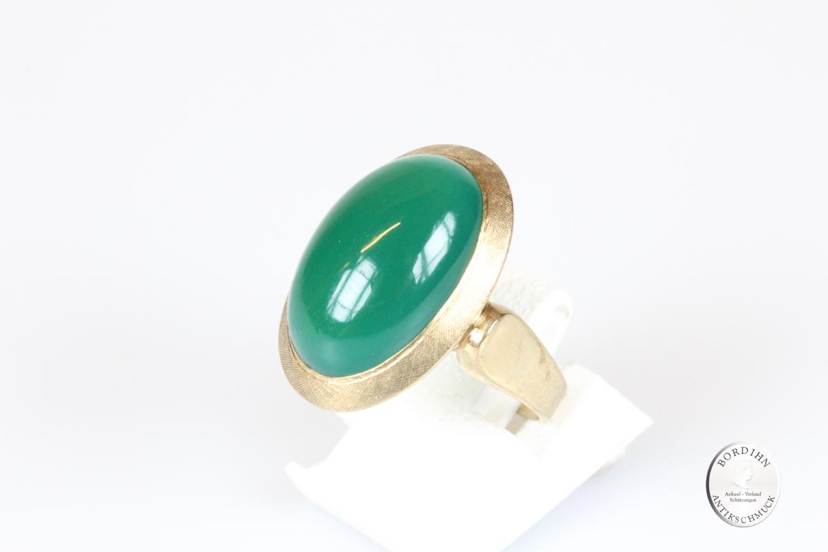 Ring 8 Karat Gold Chalzedon Goldring Schmuckring Edelstein Geschenk