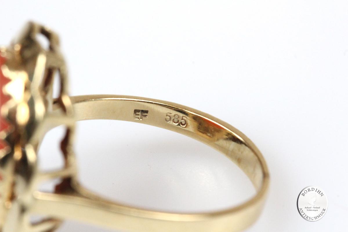 Ring 14 Karat Gold mit Gemme Goldring Schmuckring Gemmenring Damen