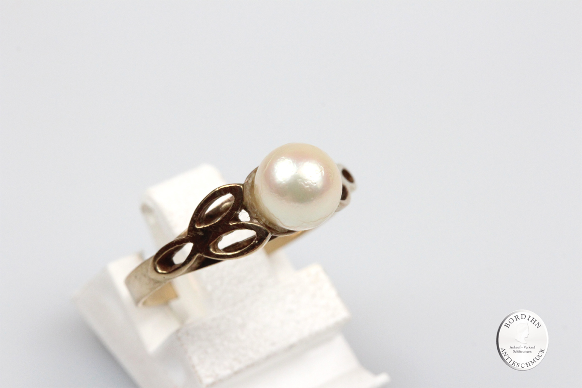 Ring 8 Karat Gold Perle Goldring Perlenring Damenring Schmuckring