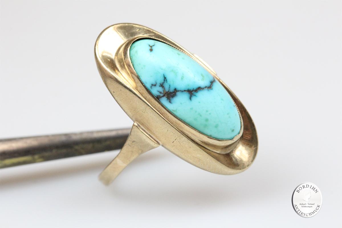 Ring 8 Karat Gold Türkis Goldring Schmuckring Fingerring Damenring