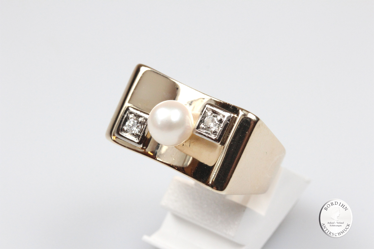 Ring 14 Karat Gold 1 Perle 2 Diamanten Goldring Schmuckring Damenring