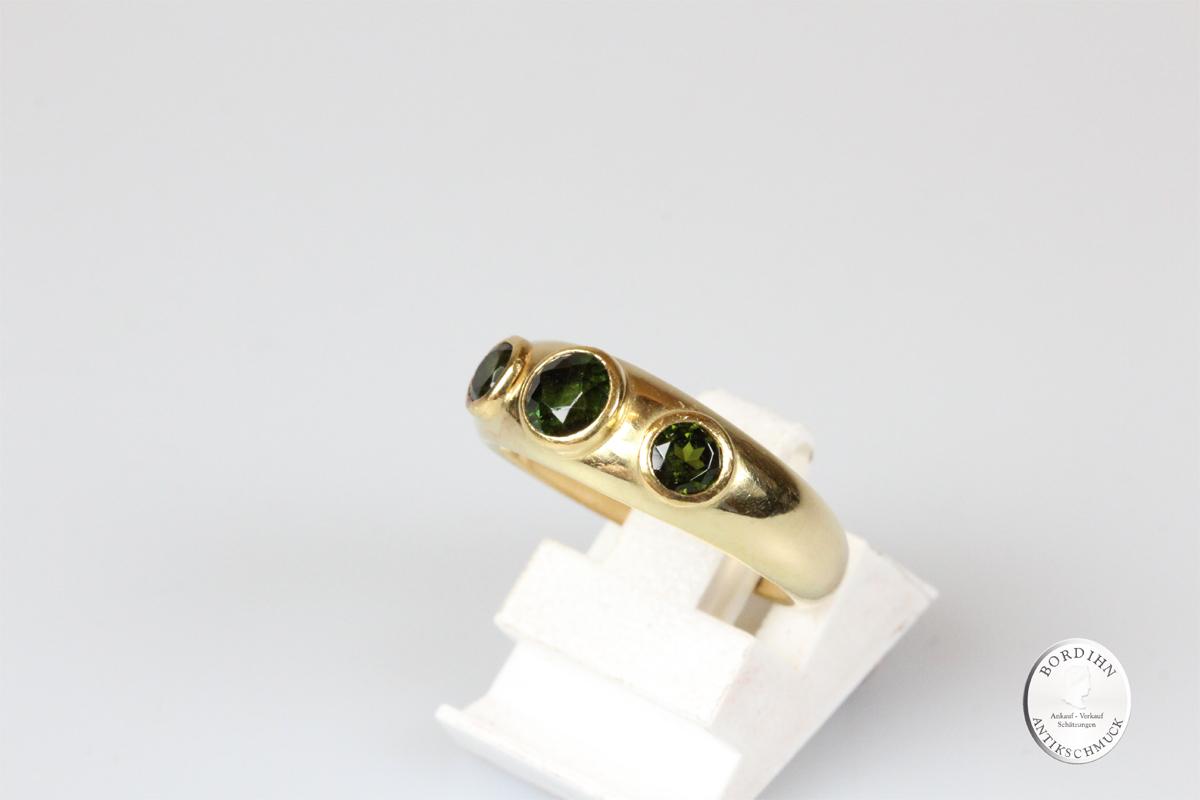 Ring 18 Karat Gold 3 Turmaline Bandring Goldring Edelsteine Geschenk