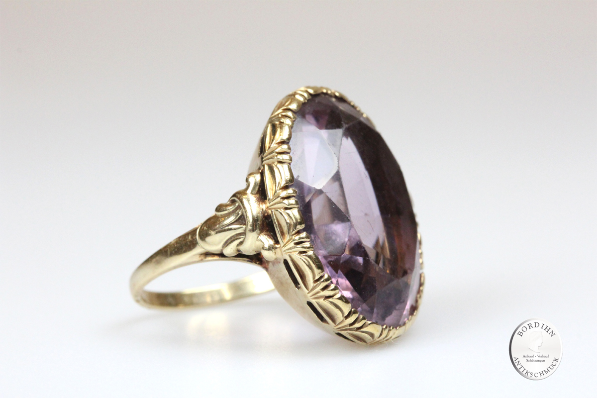 Ring 14 Karat Gold Amethyst Goldring Schmuckring Edelstein Damen antik