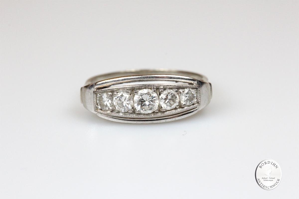 Ring 14 Karat Gold mit Brillanten Damenring Schmuckring Weißgold antik