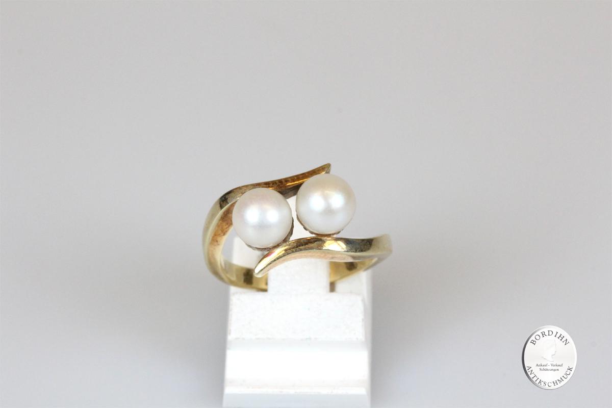 Ring 14 Karat Gold 2 Perlen Goldring Perlenring Schmuck Damen Geschenk