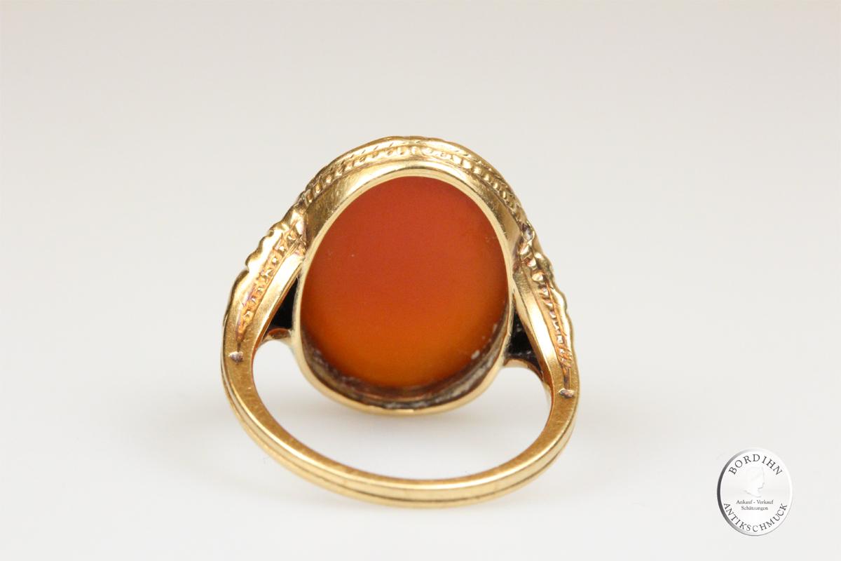 Ring 14 Karat Gold Karneol Damenring Schmuckring Goldring Geschenk
