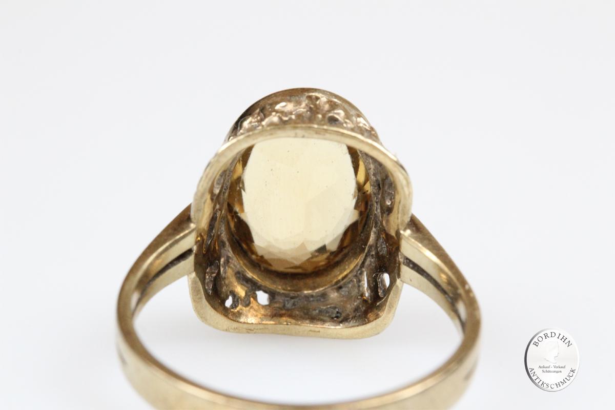 Ring 8 Karat Gold Citrin Damenring Schmuckring Goldring Damen Geschenk