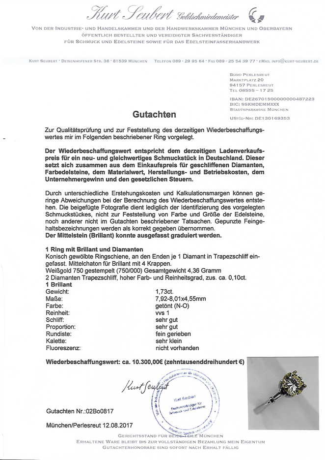 Ring Brillantring 18 Karat Weissgold Brillant Schmuckring Solitär 1,73