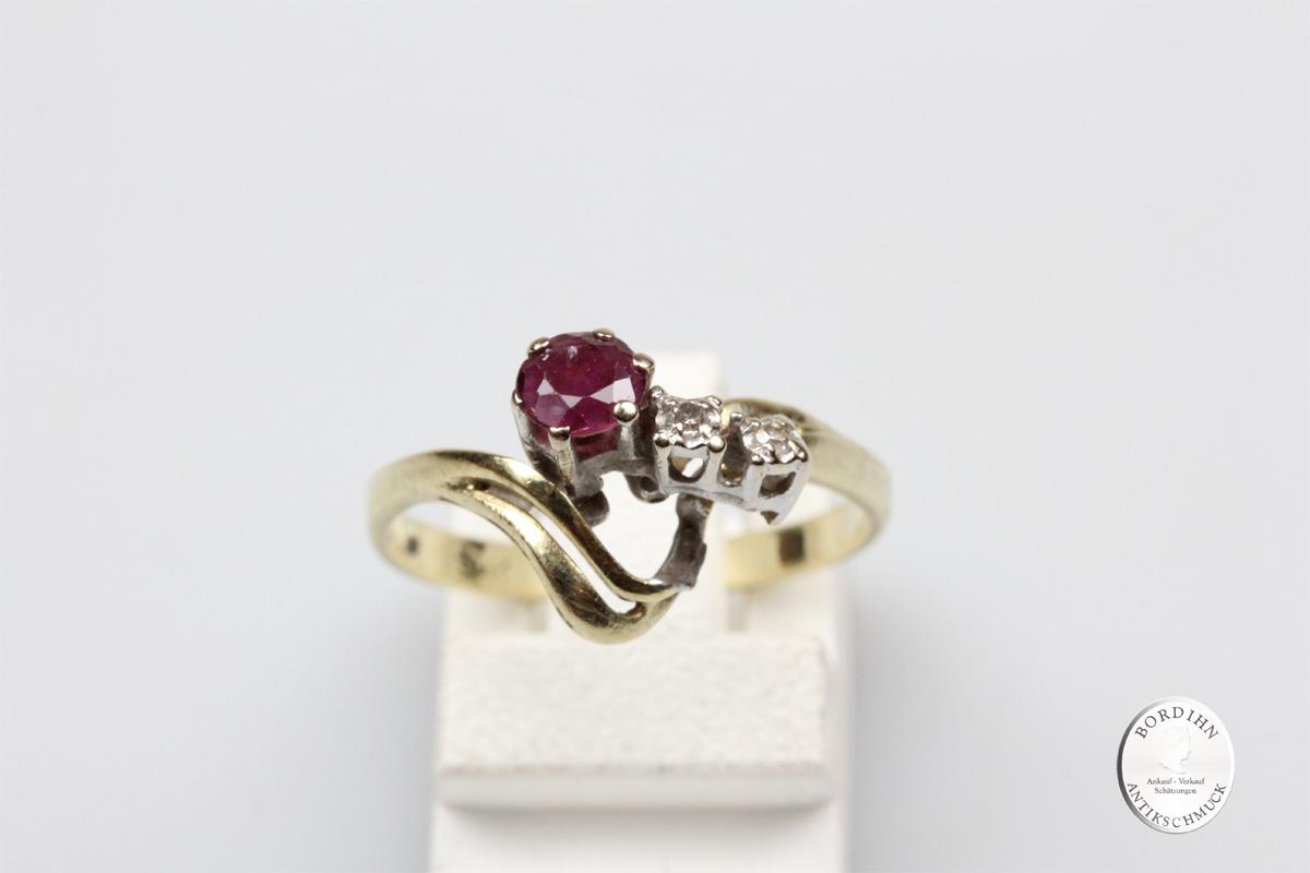 Ring 14 Karat Gold Brillanten Rubin Damenring Goldring Brillantring