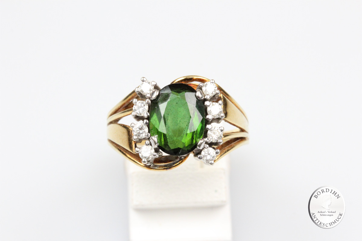 Ring 14 Karat Gold Brillanten Turmalin Fingerring Schmuckring Geschenk