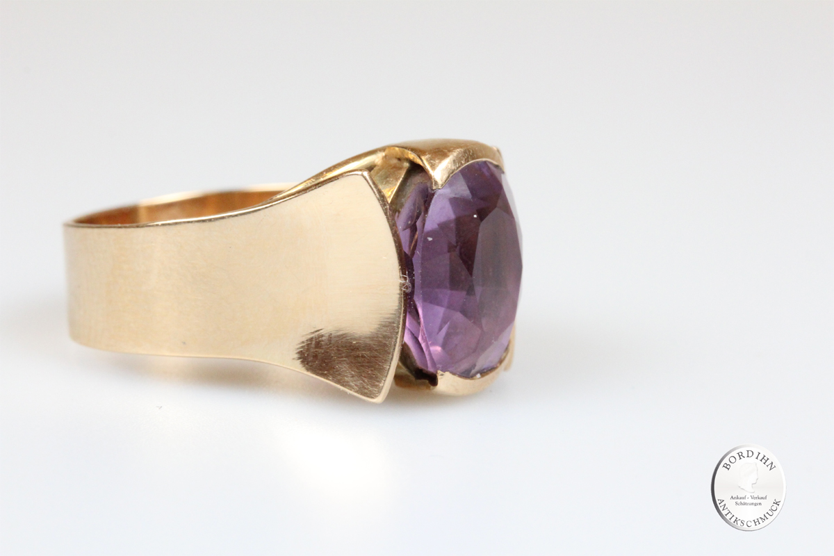 Ring 14 Karat Gold Amethyst Goldring Schmuckring Edelstein Fingerring