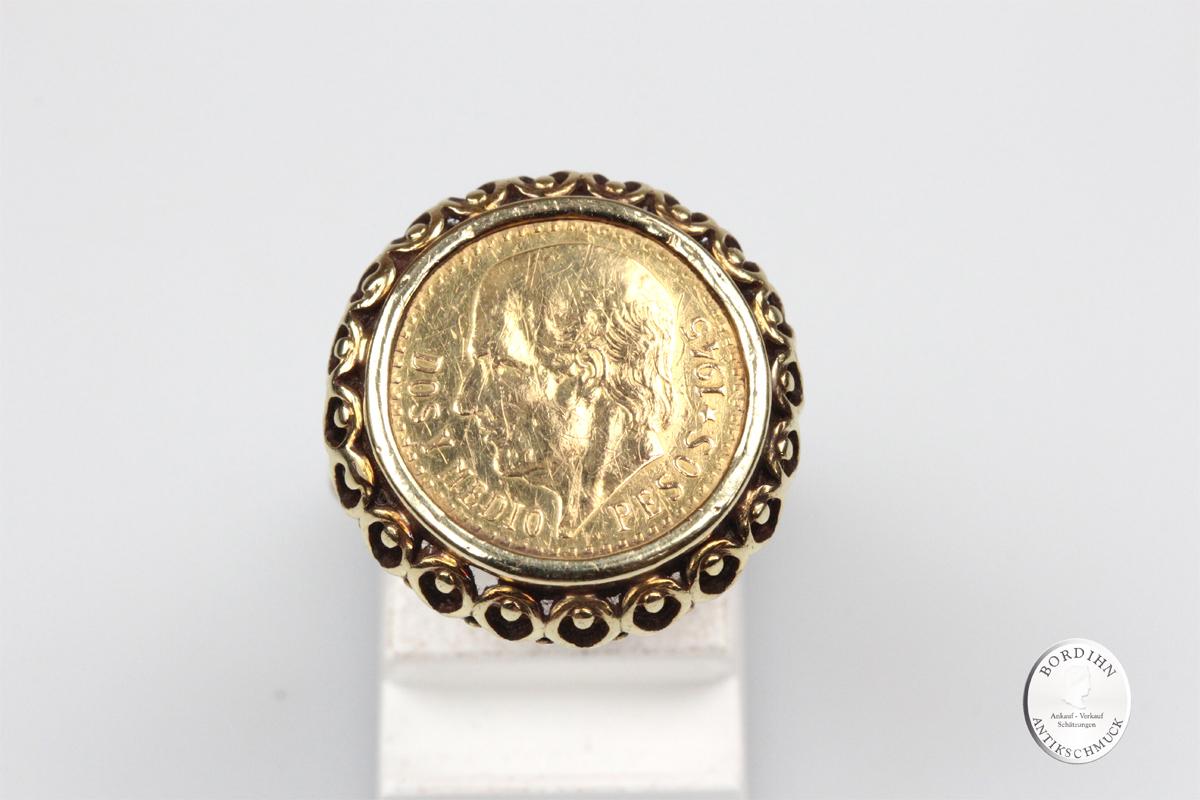 Ring 18 Karat Gold Münze Pesos 900 Gold Münzring Goldring Schmuckring