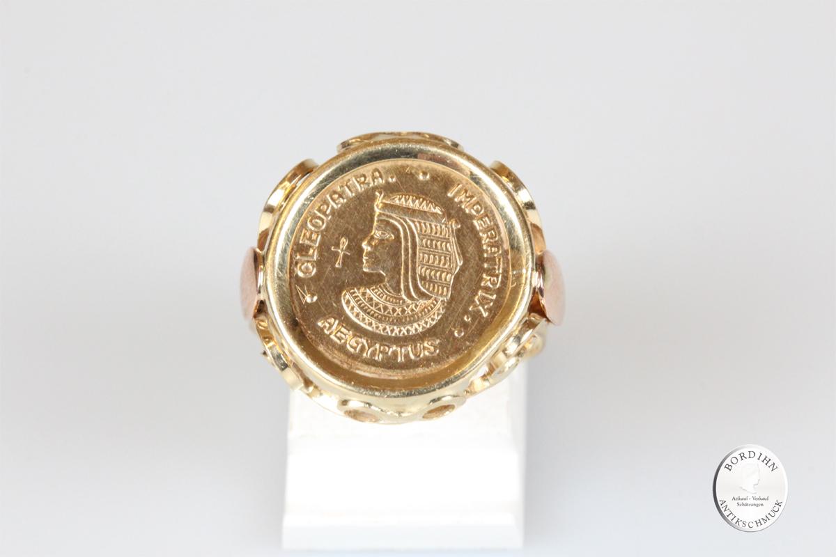 Ring 14 Karat Gold Münzring Kleopatra Goldring Münze Schmuck