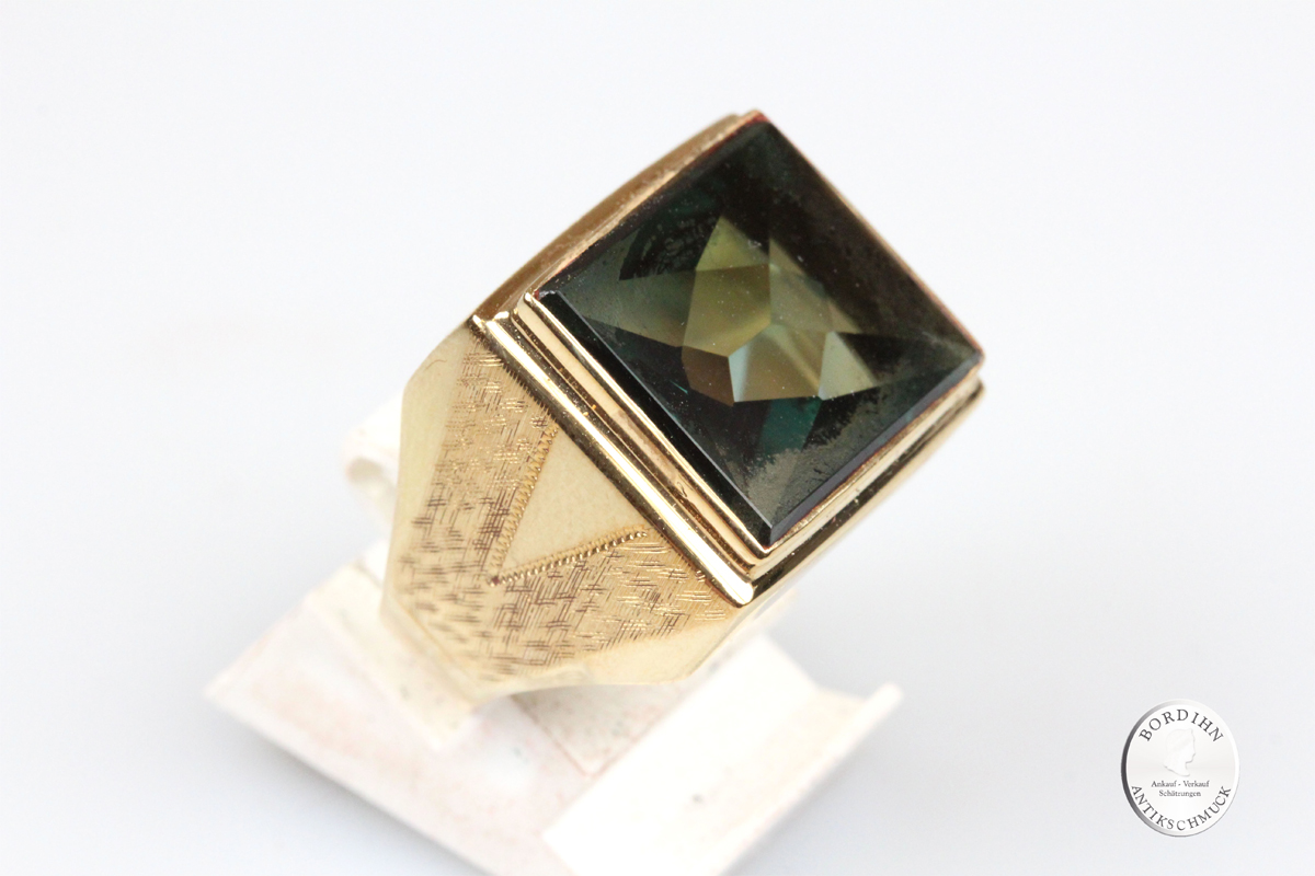 Ring 14 Karat Gold synth. Spinell grün Schmuckring Fingerring Goldring