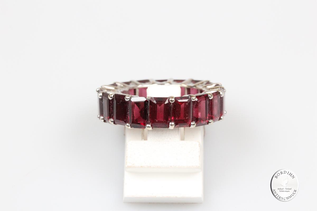 Ring 18 Karat Weißgold mit Granaten Bandring Schmuckring Granat Damen
