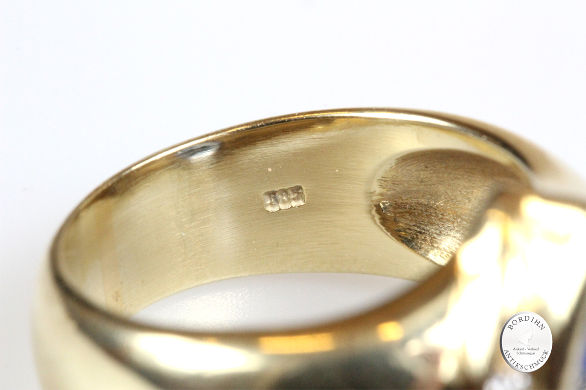 Ring 14 Karat Gold Tansanit Brillanten Edelstein Fingerring Schmuck