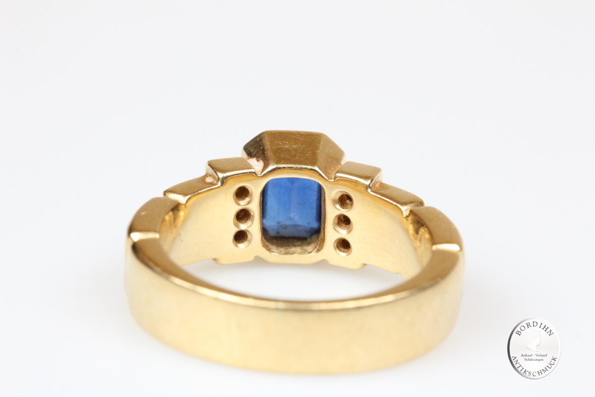Ring 18 Karat Gold Saphir Brillanten Schmuckring Fingerring Gold Safir
