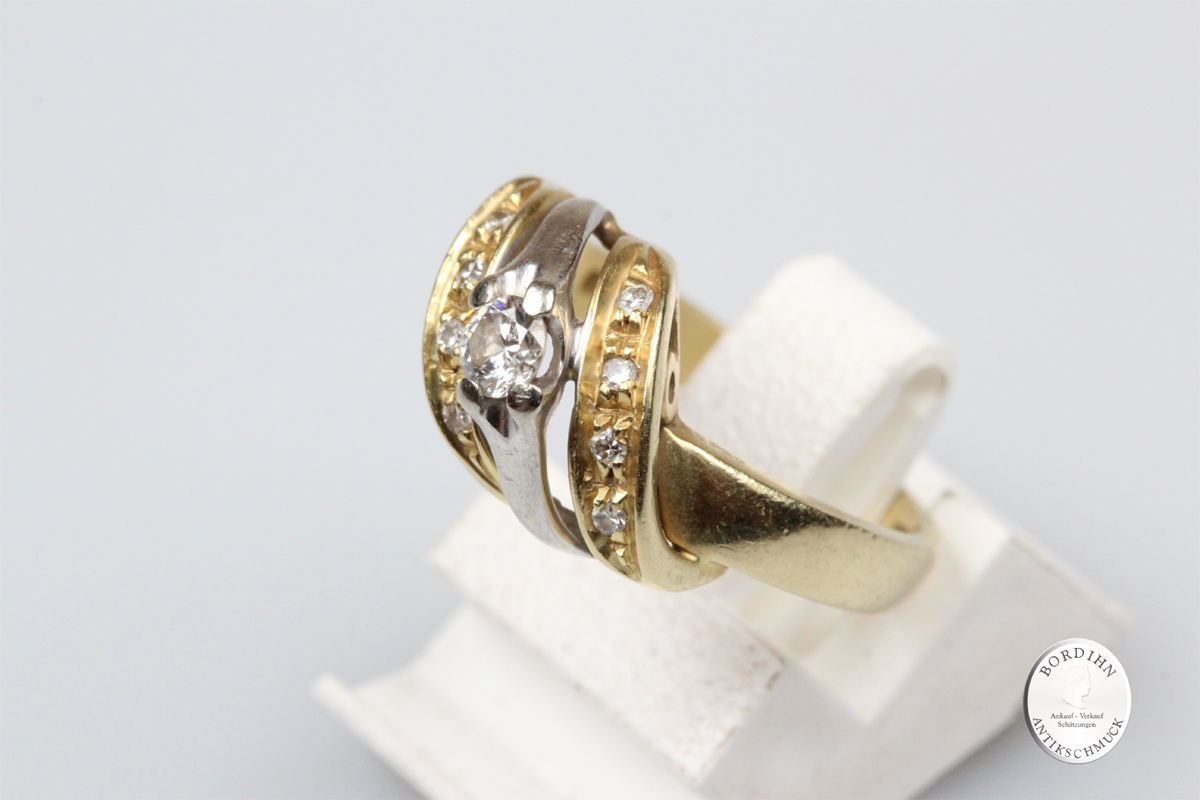 Ring 18 Karat Gold Brillanten Goldring Brillantring Schmuckring Damen