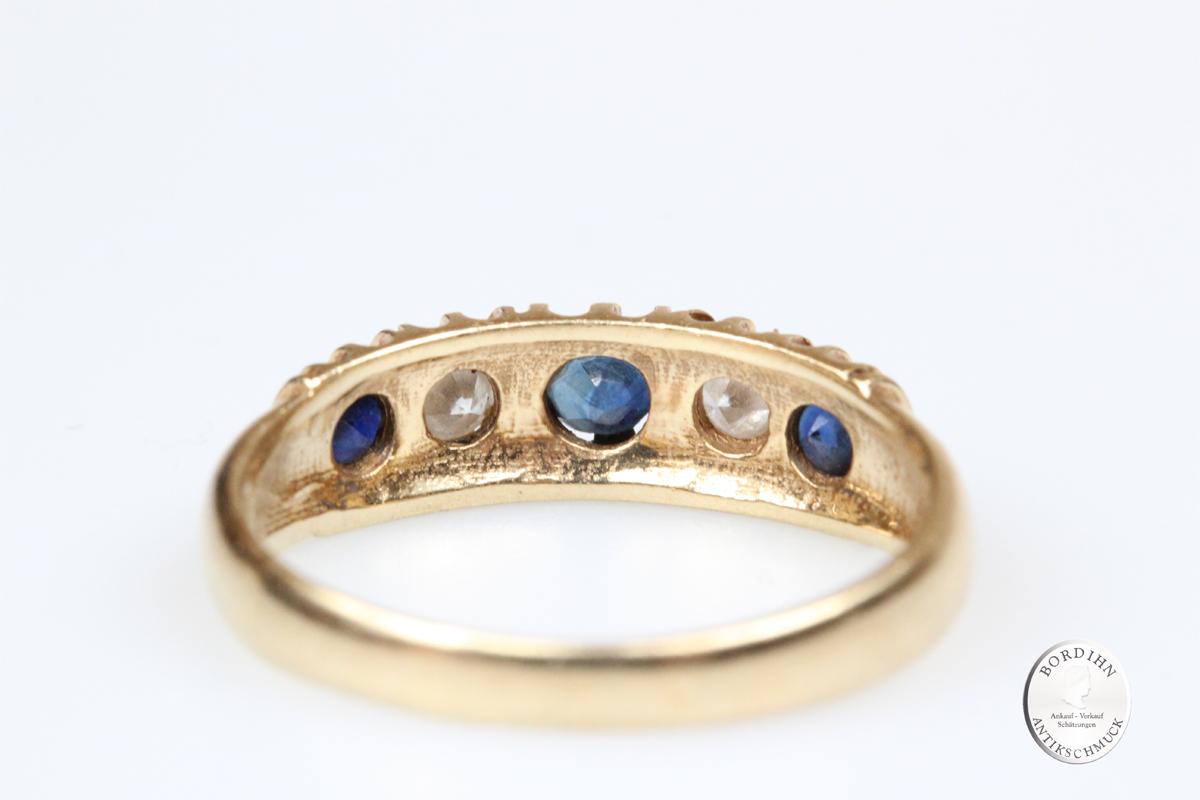 Ring Bandring 14 Karat Gold Saphir Brillant Schmuckring Goldring antik