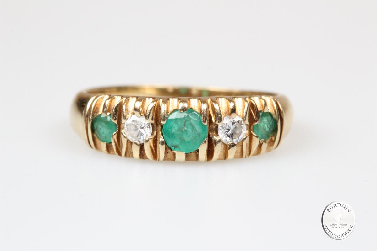 Ring Bandring 14 Karat Gold Smaragd Brillant Schmuckring Goldring
