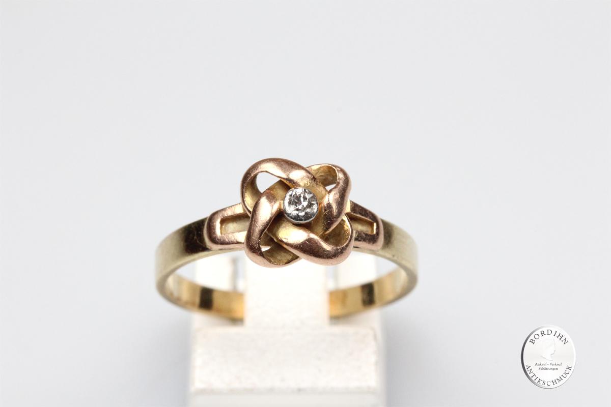 Ring 14 Karat Gold Diamant Goldring Fingerring Schmuckring antik